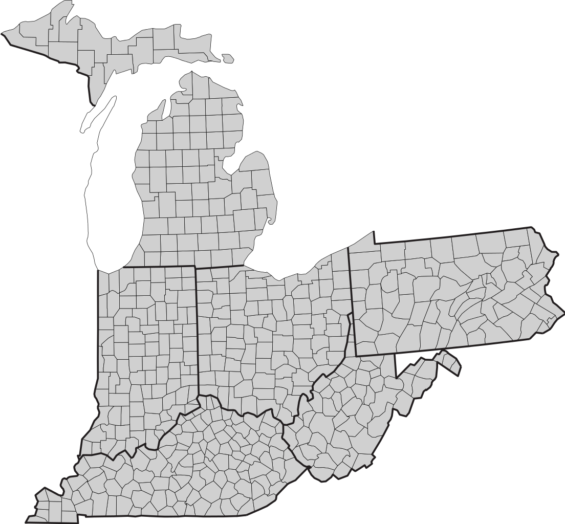 Vector ohio blank. File and adjacent states