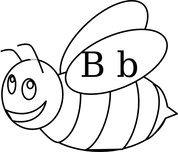 Vector outline bee. Bumble clip art at