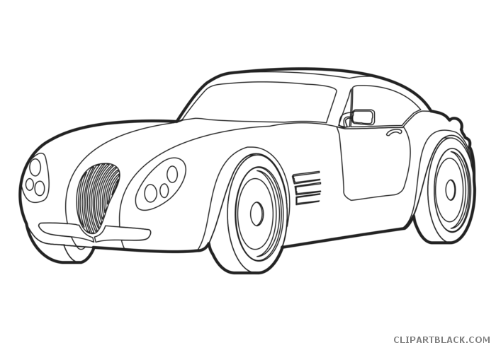 Vector outline car. Clipart black and white