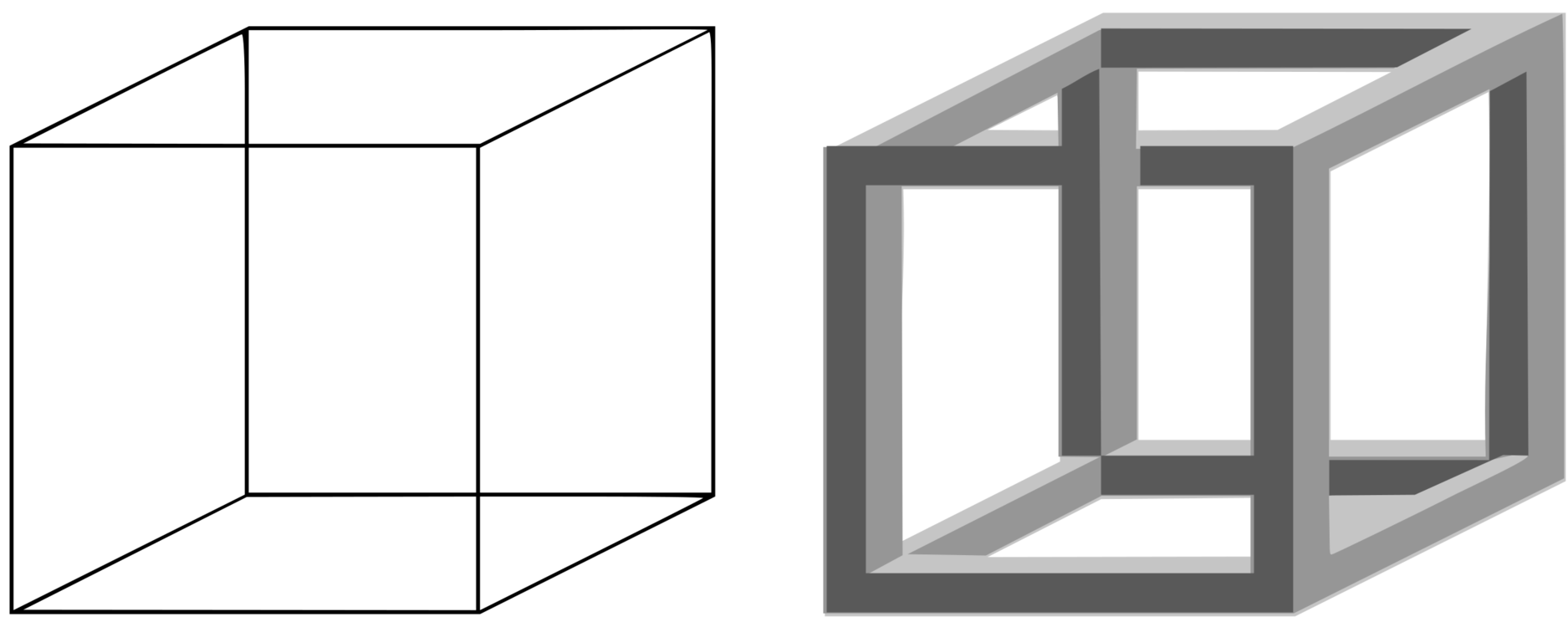 Vector outline cube. Penrose triangle necker impossible