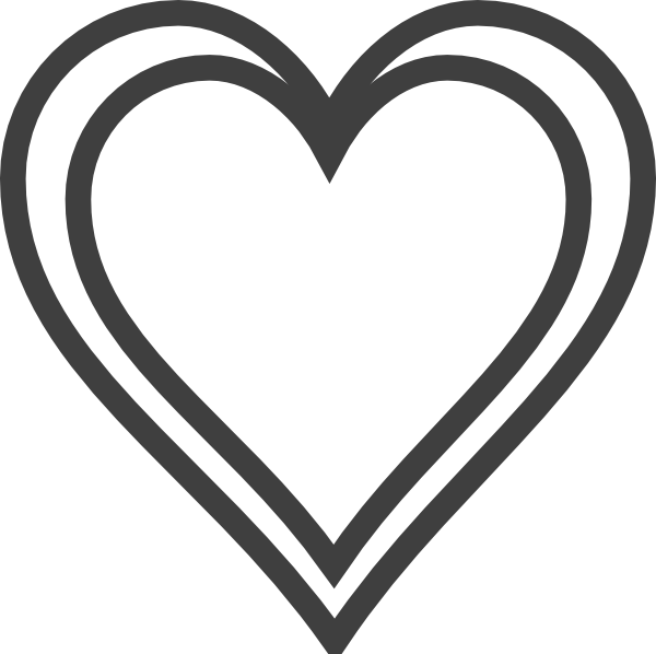 Vector outline heart. Double clip art at