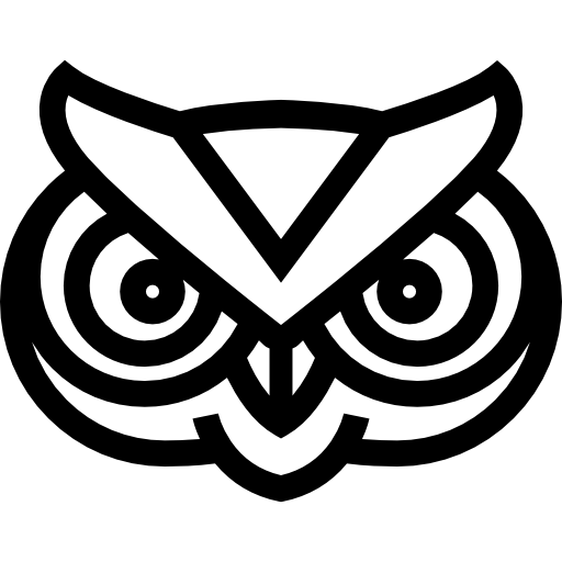 Vector outline owl. Frontal face free animals