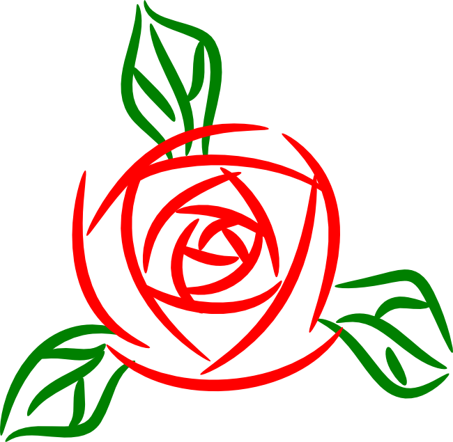 Vector outline rose. Free clipart animations and