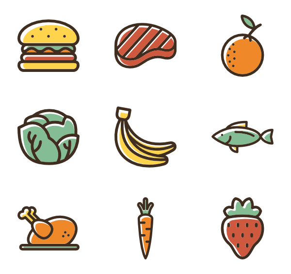 Vector set food. Choose among packs of