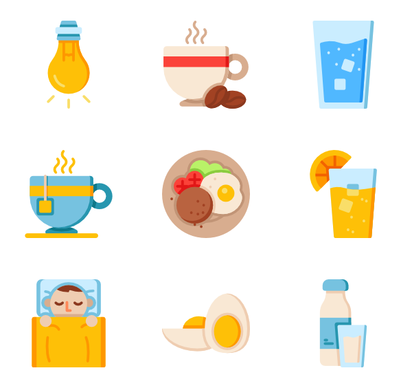 Vector packaging product. Food icons free morning