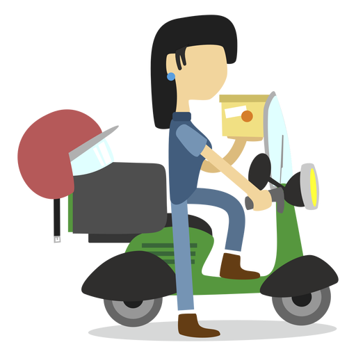 Package vector shipment. Delivery woman delivering transparent