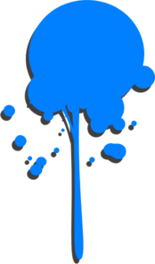 Vector paintbrush dripping paint. Blue drip clip art