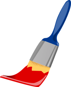 Vector paintbrush red. Paint brush blue and