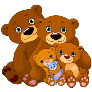 Vector pairs fluffy teddies. Mother and baby bear