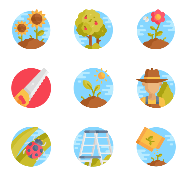 Vector pairs gardening. Seed icons free