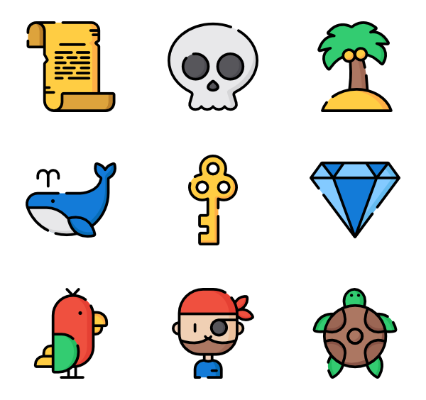 Vector parrot flat. Icons free pirates