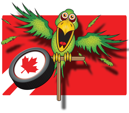 Vector parrot red. Puck cartoon art by