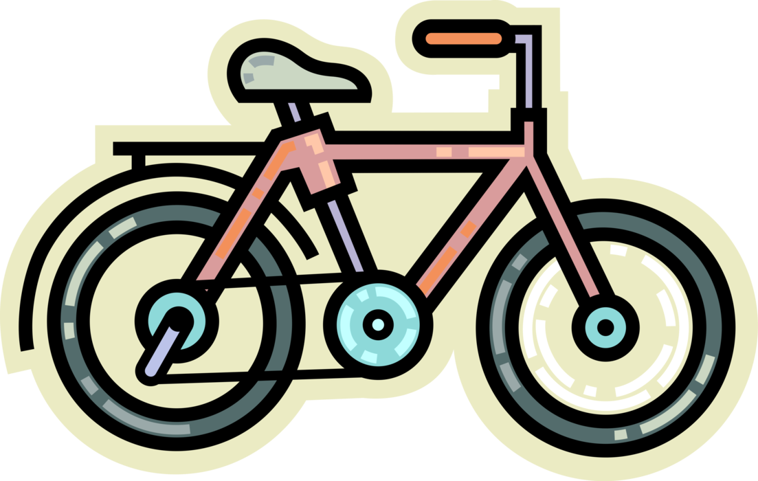 Vector pedals. Bicycle propelled by image