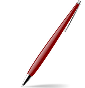 Red glossy pen clip. Vector pens clip freeuse download