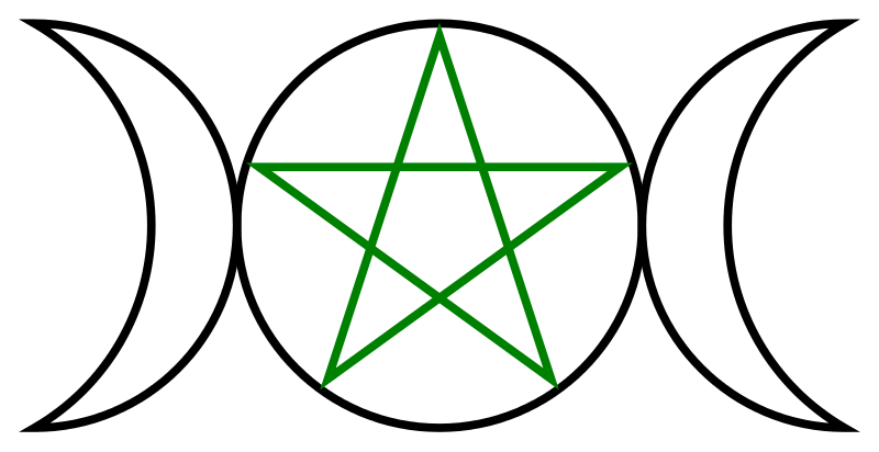 Vector pentagram witchcraft. Triple goddess by anonmoos