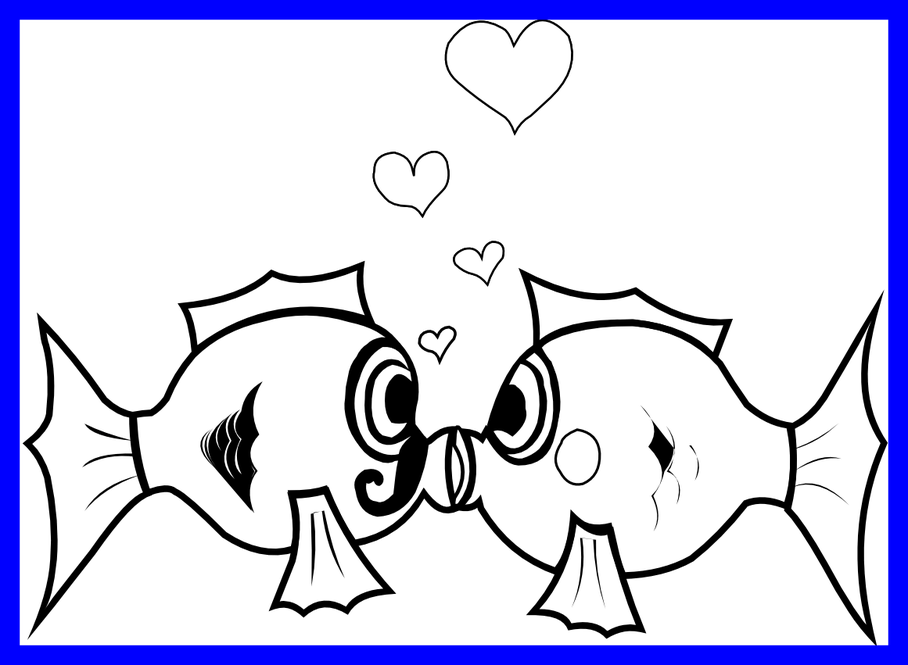 Vector pict banner. Fish kiss black and