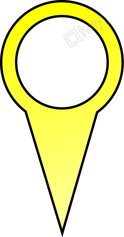 Vector pict element. Yellow map pin free