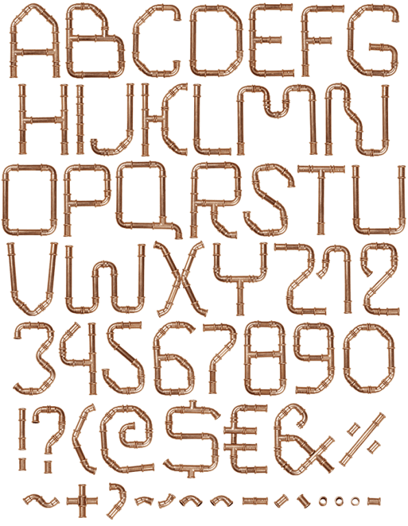 Vector pipes tubing. Copper pipe font handmadefont