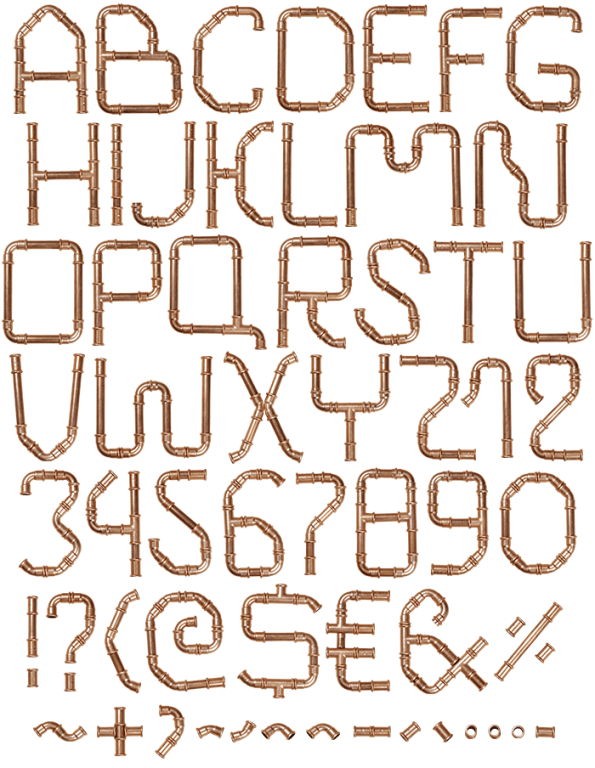Vector pipes copper pipe. Font typography fonts handmadefont