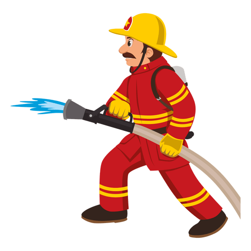 Vector pipe hose. Firefighter with transparent png