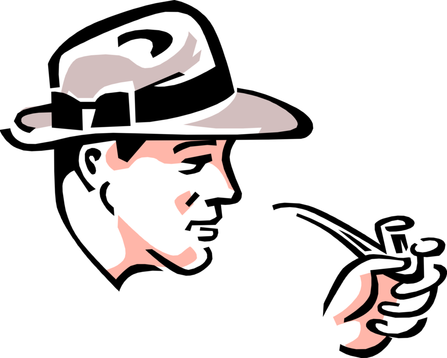 Vector pipes vintage. Businessman smokes pipe image