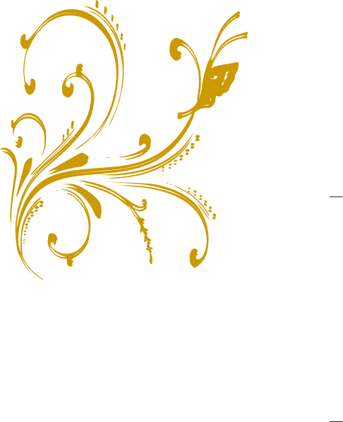 Vector png design. Gold floral with butterfly