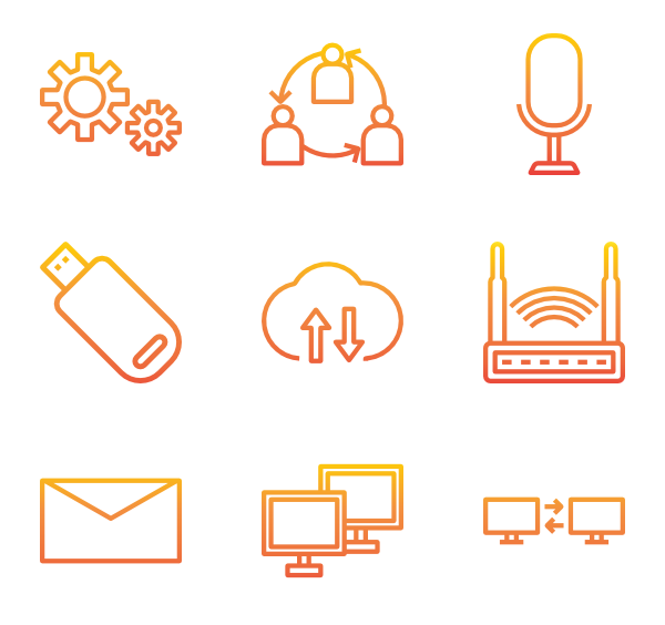 Vector orange movement. Mouse icons free computer