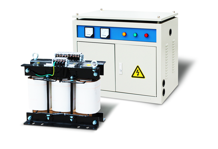 Vector power electrical transformer. Three phase v to