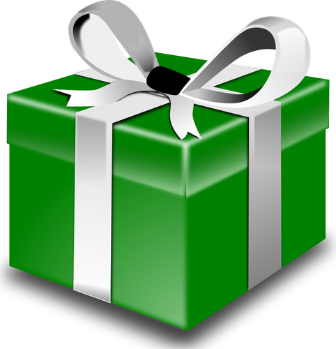 Vector present gift packaging. Green eclectic christmas presents