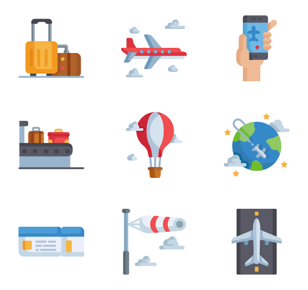 Vector pricing board. Icons free aviation