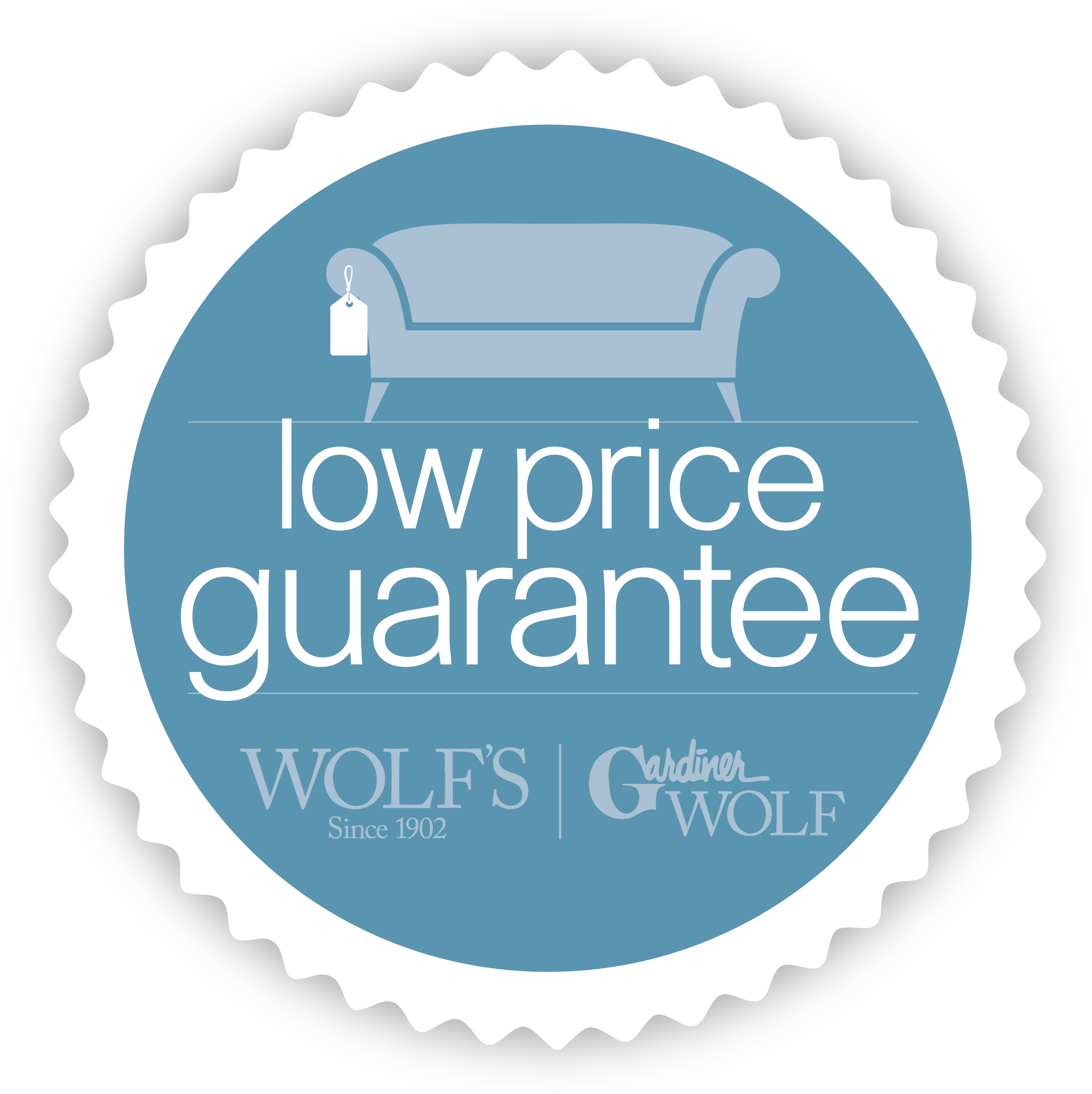 Vector pricing price badge. Low guarantee wolf and