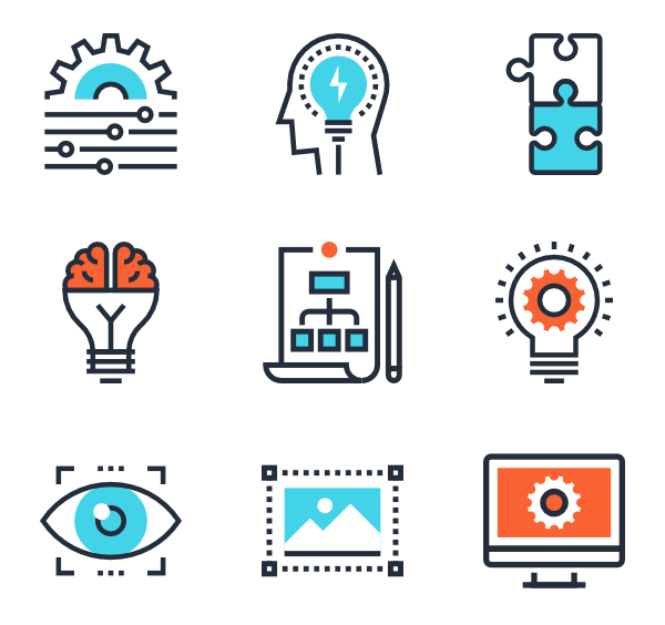 Icons free process. Vector contact creative graphic