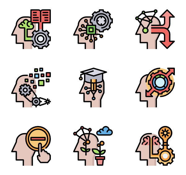 Vector process. Brain icons free
