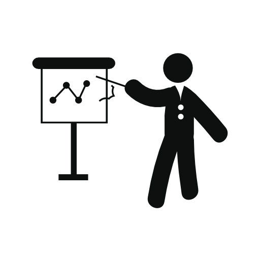 Vector project icon. Businessman showing a sketch