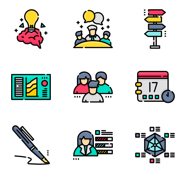 Vector project self management. Task icons free and