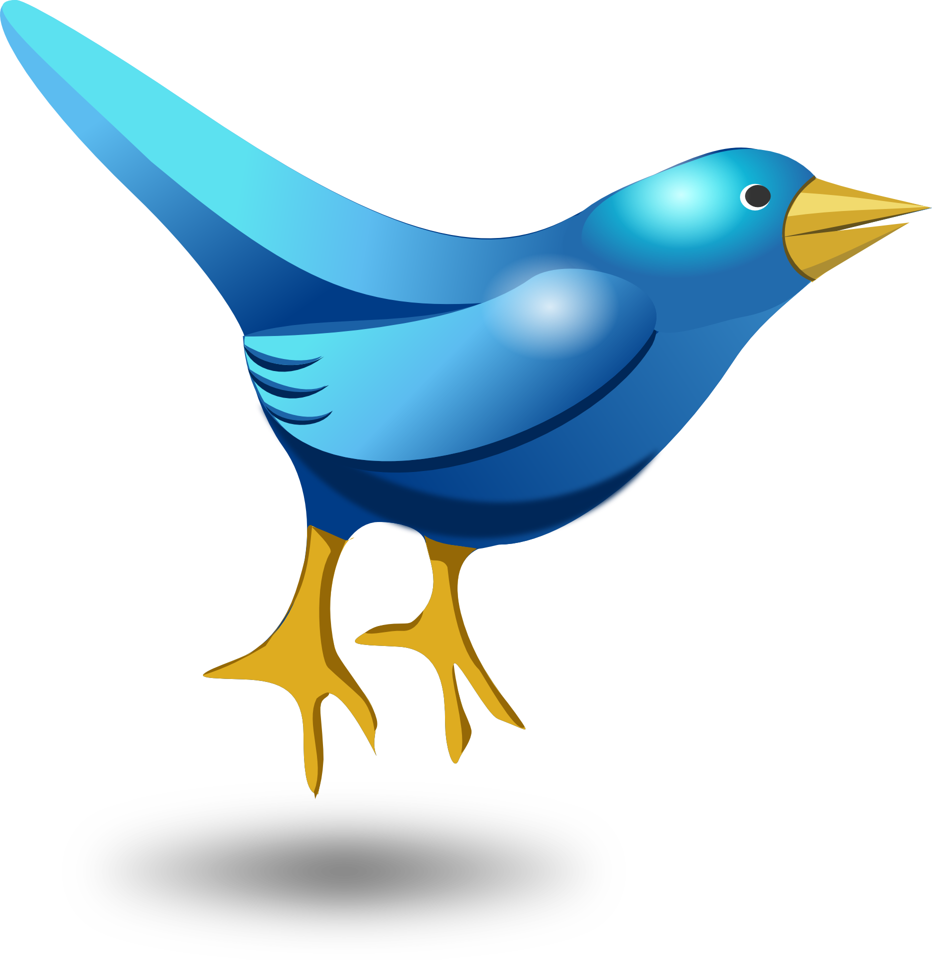Vector psd bird. Blue cartoon symbol of
