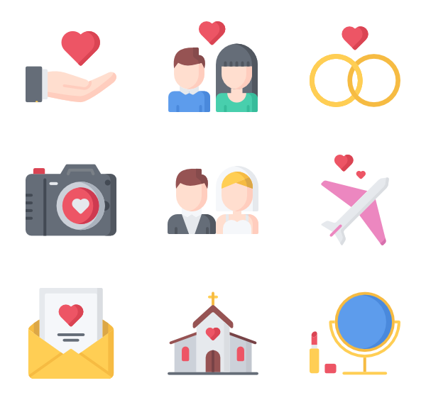 Vector psd wedding. Day icon packs