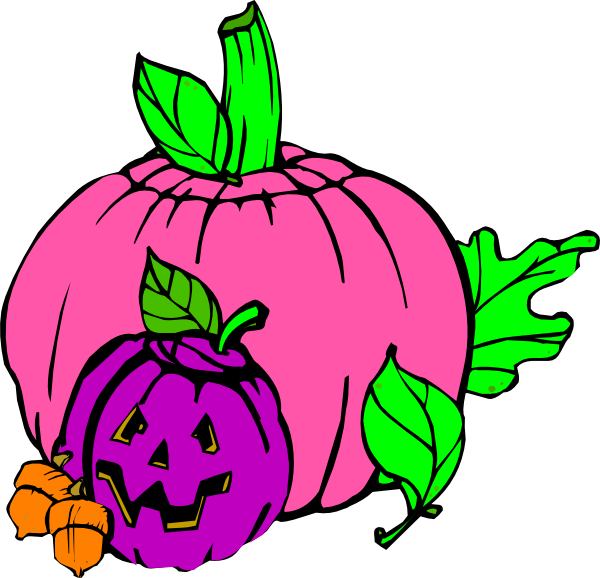 Pumpkins vector colored. Girly pumpkin clip art