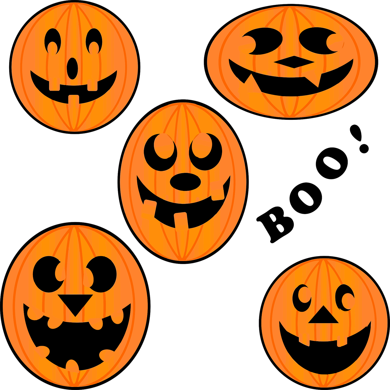 Pumpkins vector thanksgiving. Carved halloween scary free