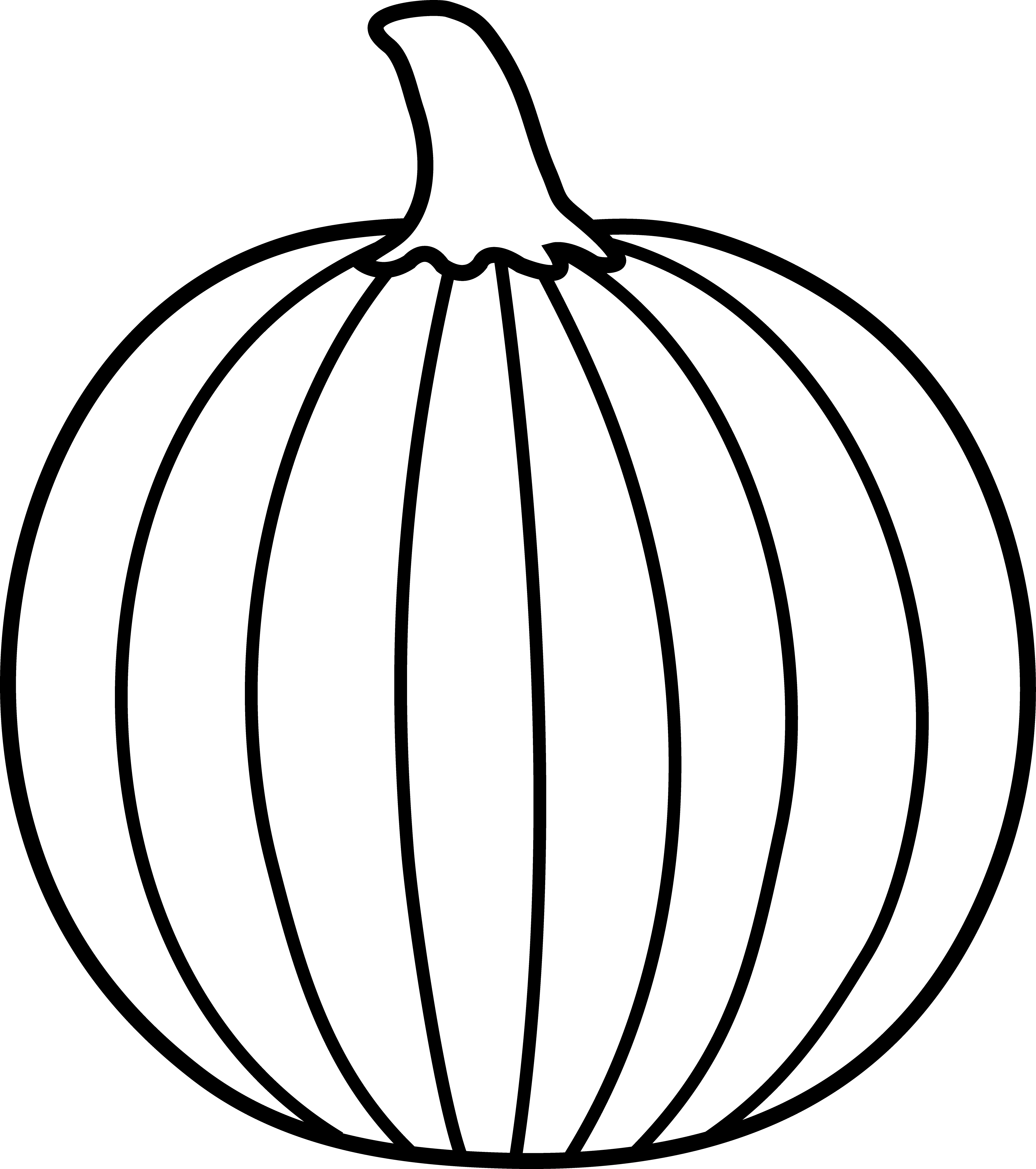 Stem drawing pumpkin. Black and white lineart