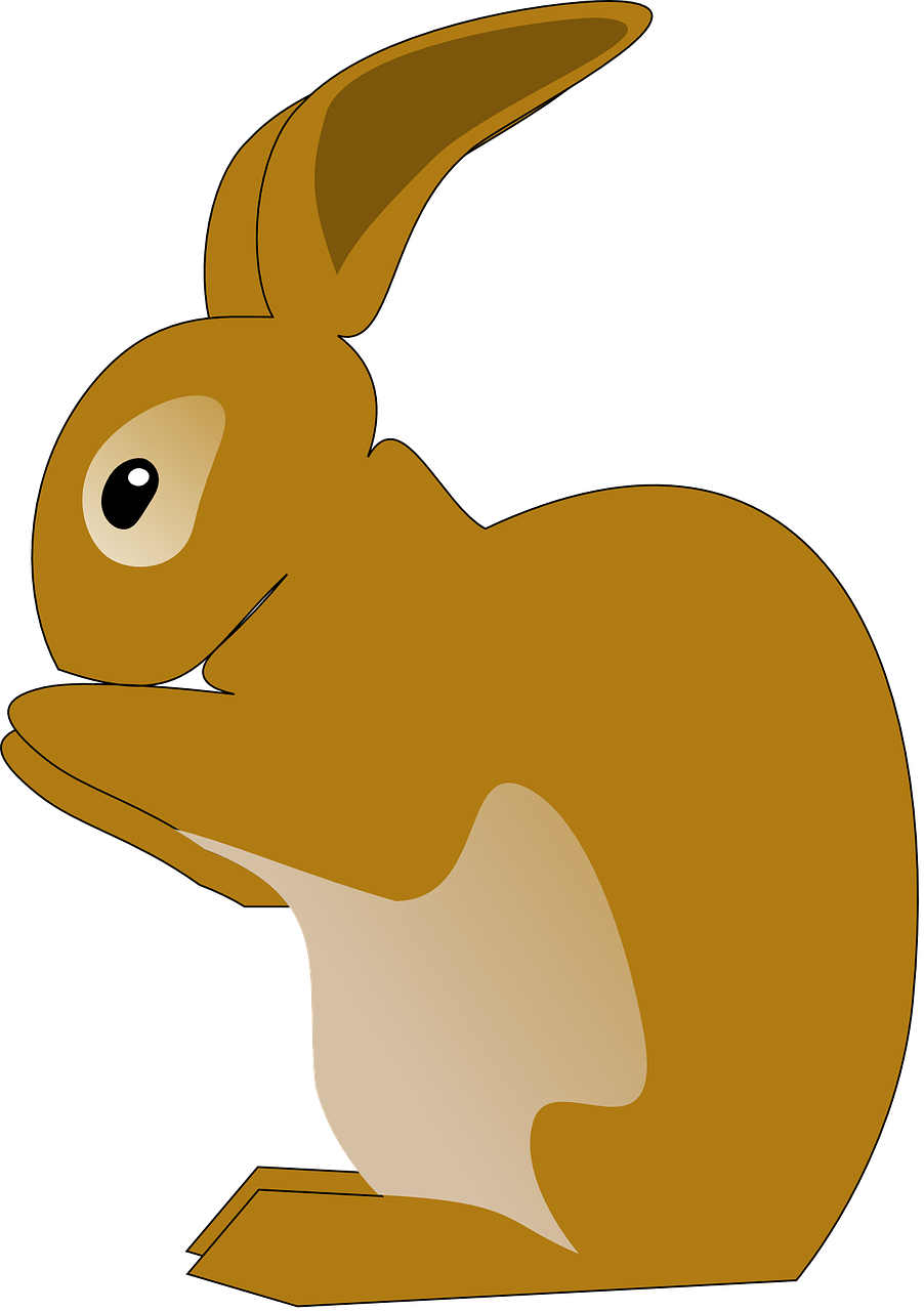 Vector rabbit. Bunny animal eating brown