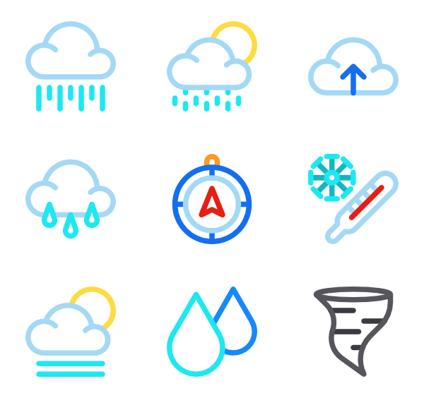 Vector rain. Icons free weather