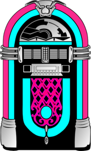 Vector records jukebox. Pink and blue clip