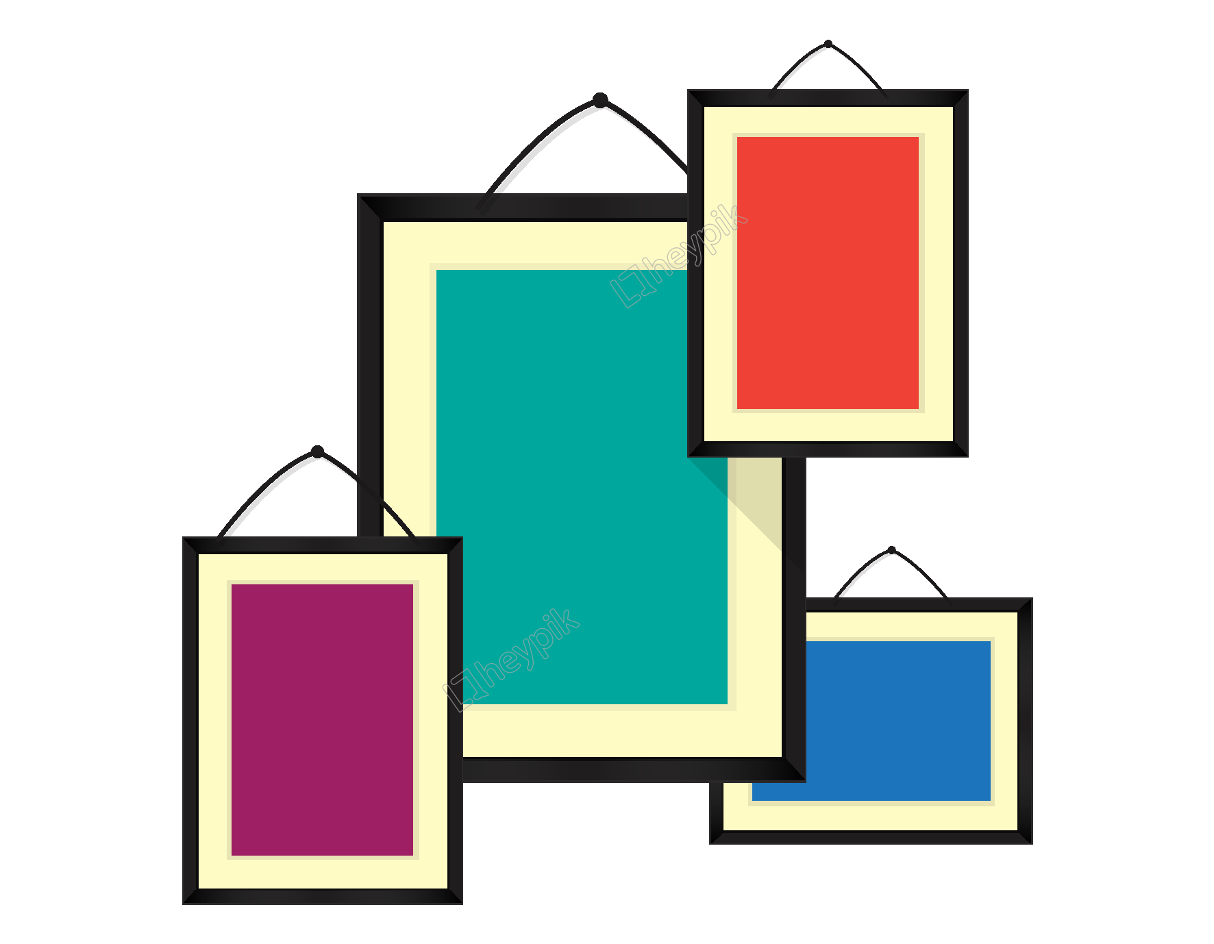 Vector rectangle hand. Drawn colorful ornament free