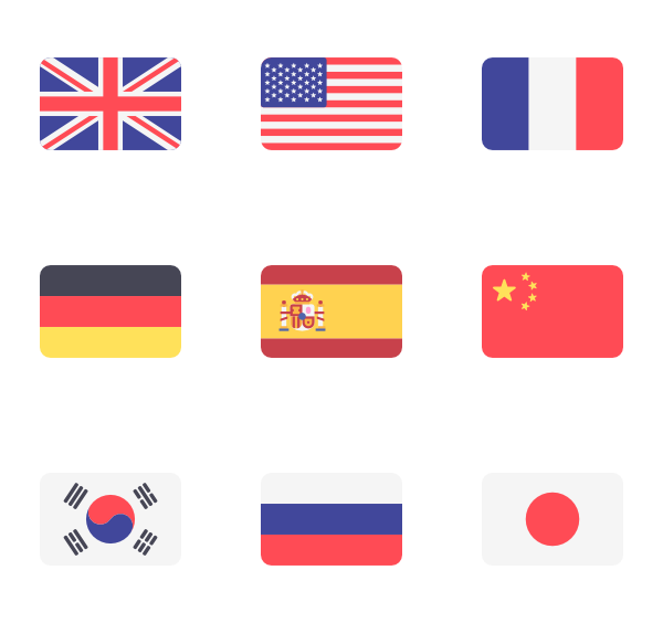 Vector rectangle simple. Icons free international flags