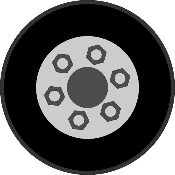 Wheel with bolts clip. Wheels clipart clip art black and white download