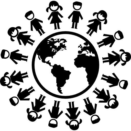 Vector rings tech. Earth with children ring