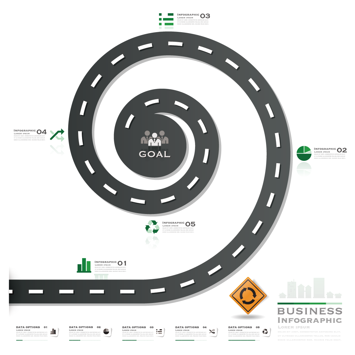 Vector roads infographic. Road street rotating the