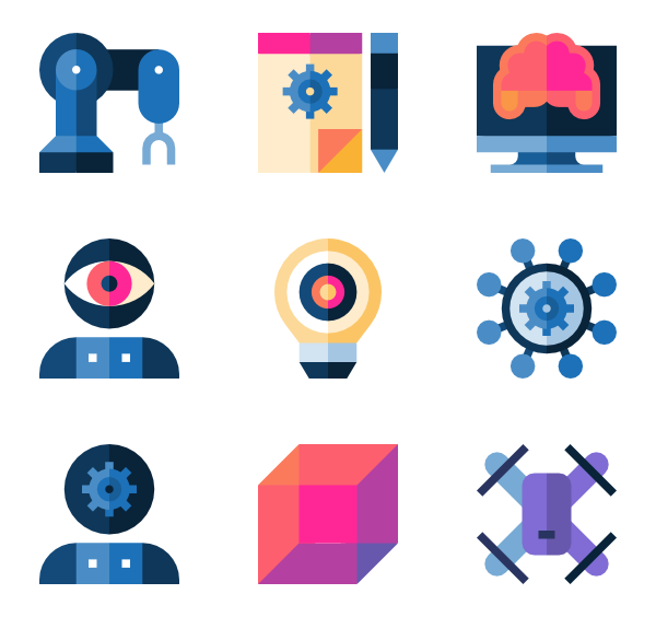 Vector robots artificial intelligence. Flat icon packs