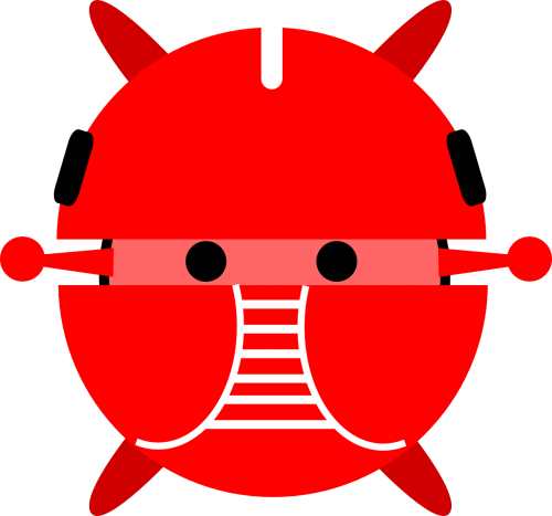Vector robots artificial intelligence. Android robot ai red
